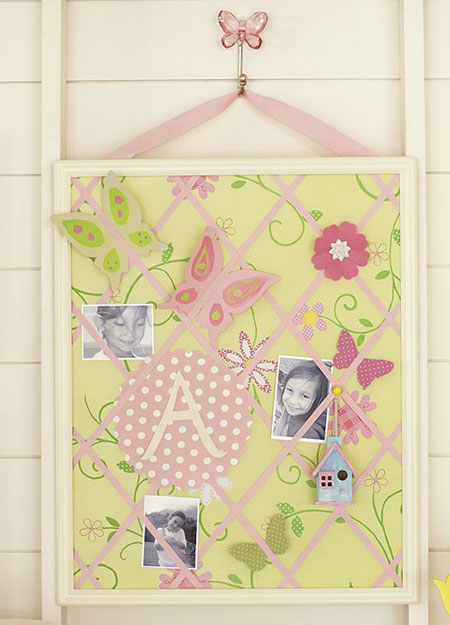 Yellow and pink Pottery Barn Kids ribbon board
