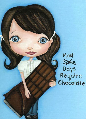"""MOST Days Require Chocolate Art"" print by The Dreamy Giraffe on Etsy"