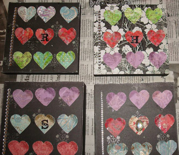 Wood blocks, pain, scrapbook paper and Mod Podge