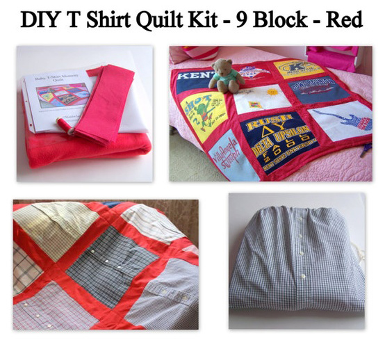 This Etsy T-shirt Quilt Kit shows you what to do.