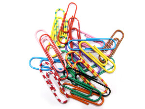Colorful paper clips isolated in white
